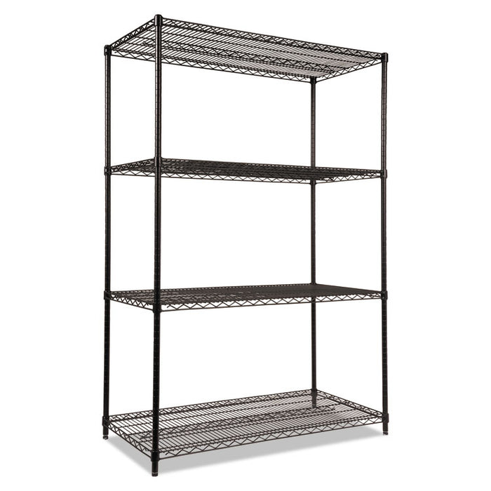 NSF Certified Industrial 4-Shelf Wire Shelving Kit, 48w x 24d x 72h, Black