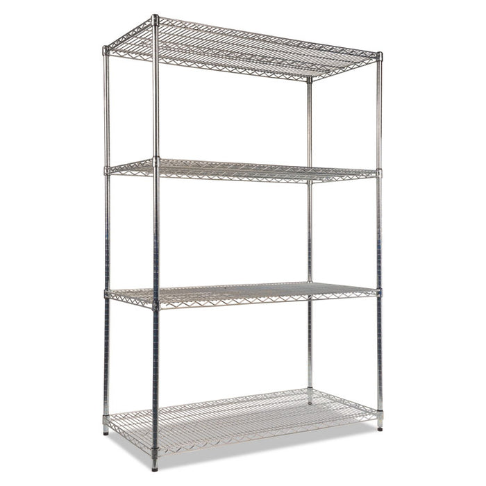 NSF Certified Industrial 4-Shelf Wire Shelving Kit, 48w x 24d x 72h, Silver