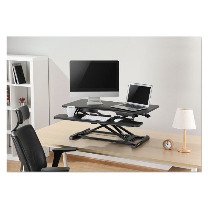 AdaptivErgo Sit-Stand Workstation, 37.38w x 26.13d x 19.88h, Black