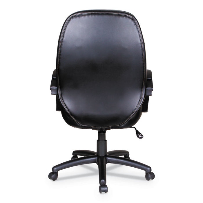 Alera PF Series High-Back Leather Office Chair, Supports up to 275 lbs., Black Seat/Black Back, Black Base