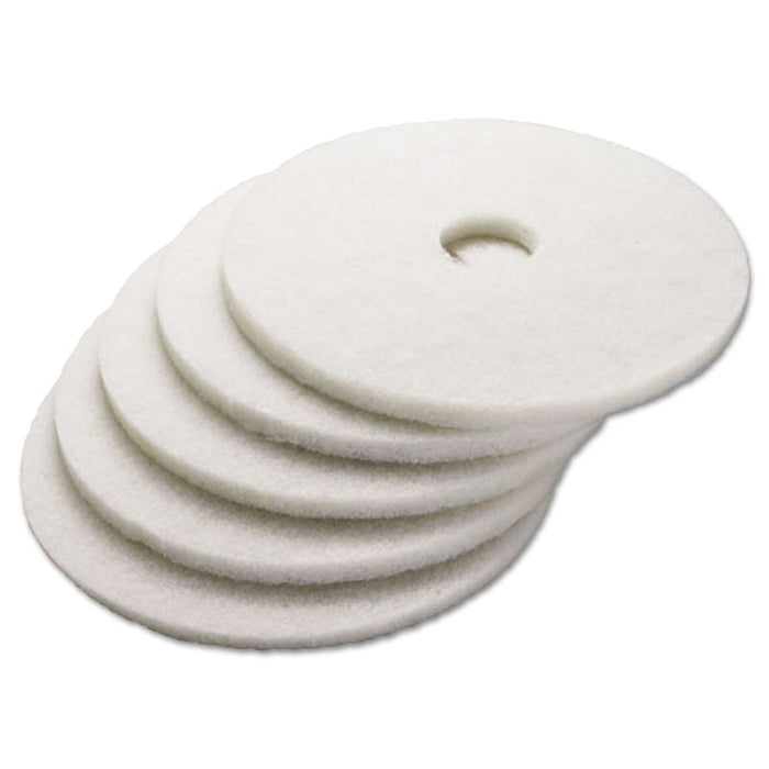 "Polishing Floor Pads, 24"" Diameter, White, 5/Carton"