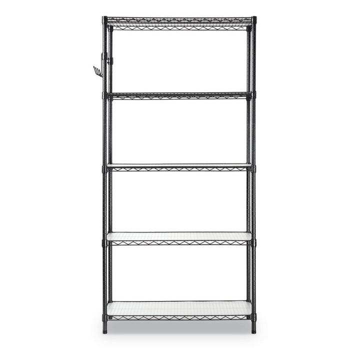 5-Shelf Wire Shelving Kit with Casters and Shelf Liners, 36w x 18d x 72h, Black Anthracite