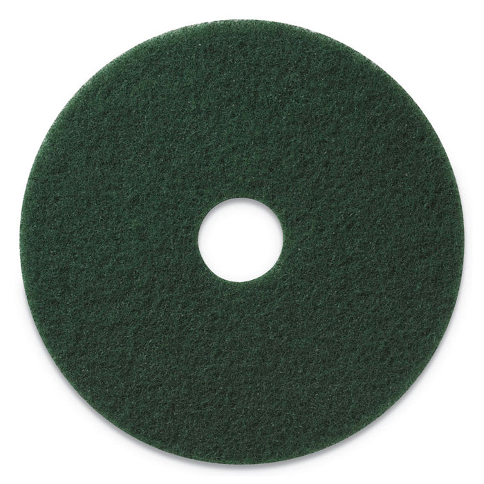 "Scrubbing Pads, 17"" Diameter, Green, 5/CT"