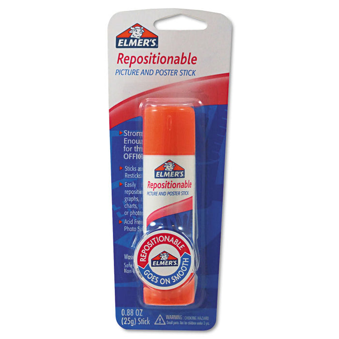 Repositionable Poster & Picture Glue Stick, 0.88 oz, Dries Clear