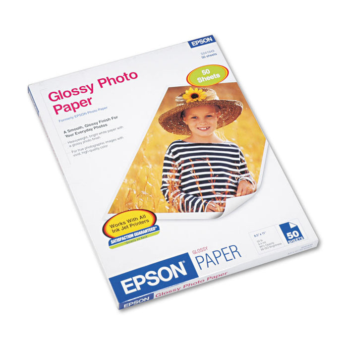 Glossy Photo Paper, 9.4 mil, 8.5 x 11, Glossy White, 50/Pack