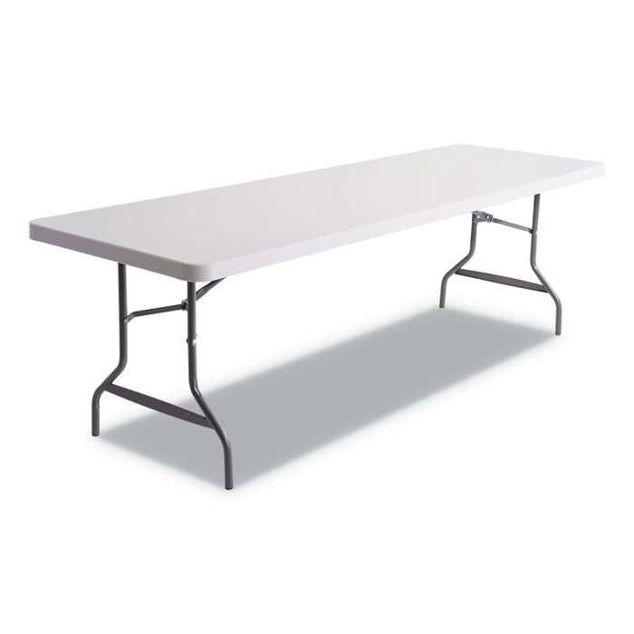 Resin Rectangular Folding Table, Square Edge, 96w x 30d x 29h, Platinum