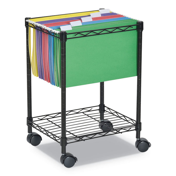 Compact Rolling File Cart, 15.25w x 12.38d x 21h, Black