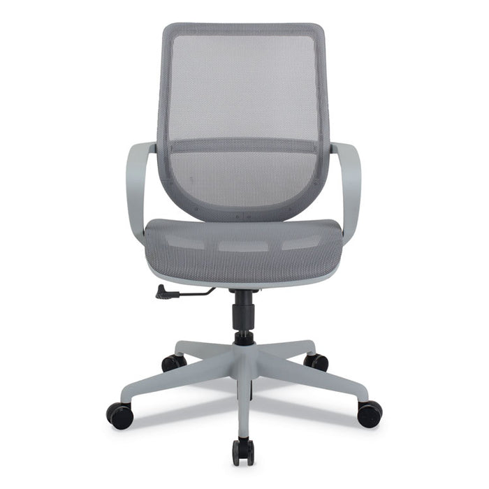 Alera Macklin Series Mid-Back All-Mesh Office Chair, Up to 275 lbs., Silver Seat/Back, Pewter Base