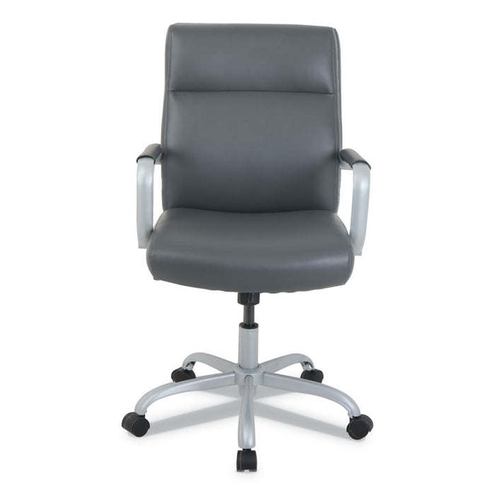 kathy ireland OFFICE by Alera Manitou High-Back Leather Office Chair, Up to 275 lbs., Gray Seat/Back, Smoking Gray Base