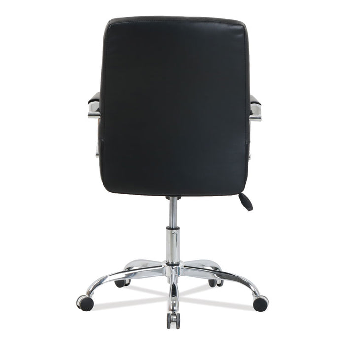 kathy ireland OFFICE by Alera Nebulous Mid-Back Diamond-Embossed Leather Chair, Up to 275 lbs., Black Seat, Chrome Base