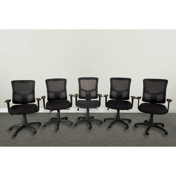 Alera Elusion II Series Mesh Mid-Back Synchro with Seat Slide Chair, Supports up to 275 lbs., Black Seat/Back, Black Base