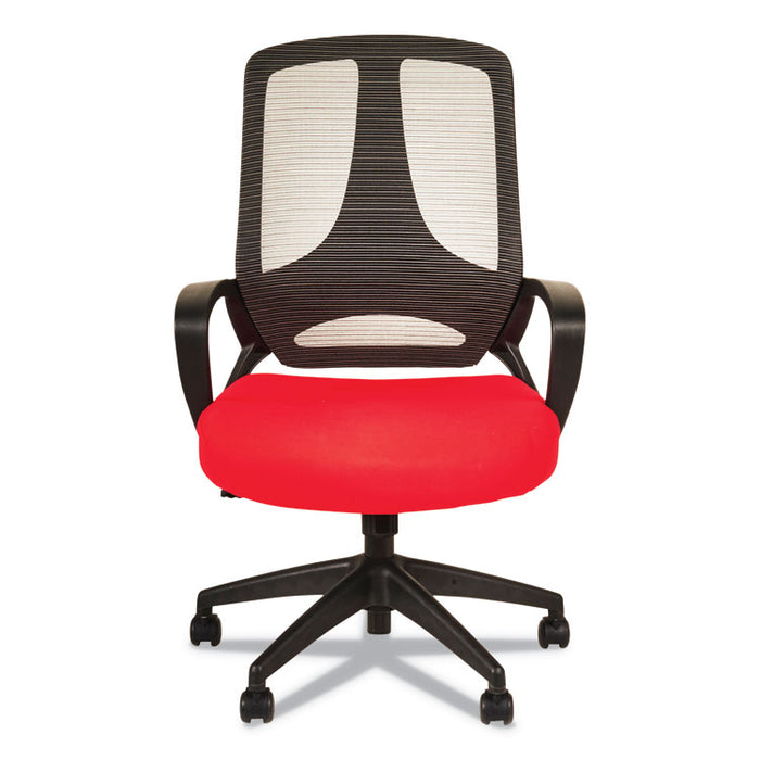 Alera MB Series Mesh Mid-Back Office Chair, Supports up to 275 lbs., Red Seat/Black Back, Black Base