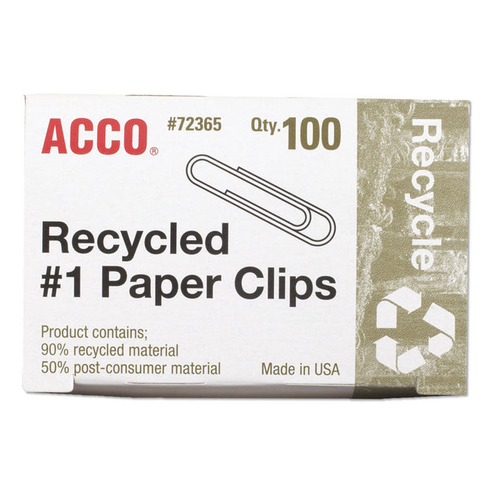 Recycled Paper Clips, Medium (No. 1), Silver, 100/Box, 10 Boxes/Pack
