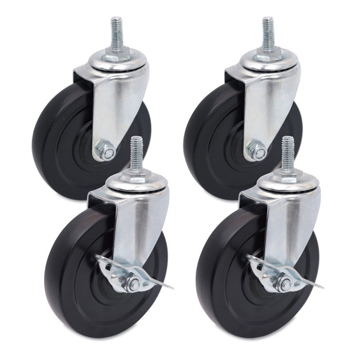 Optional Casters for Wire Shelving, 200 lbs/Caster, Gray/Black, 4/Set