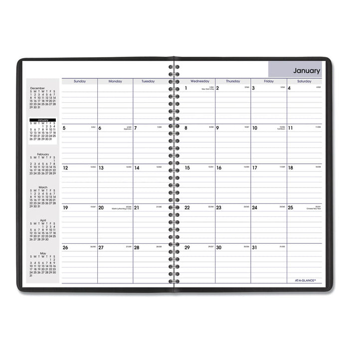 Monthly Planner, 11 7/8 x 7 7/8, Black Two-Piece Cover, 2019-2020