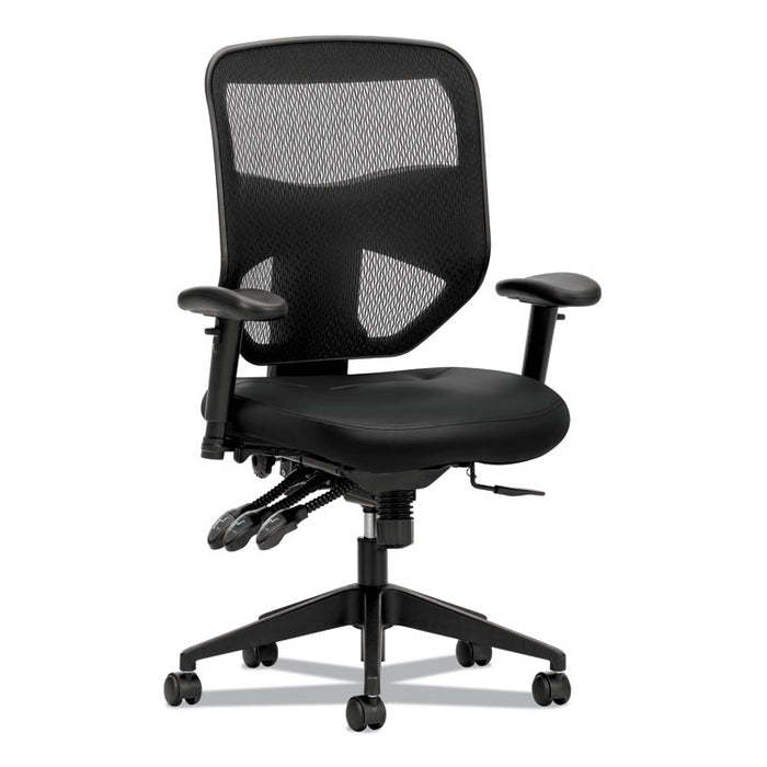 Prominent Mesh High-Back Task Chair, Leather, Supports up to 250 lbs., Black Seat, Black Back, Black Base