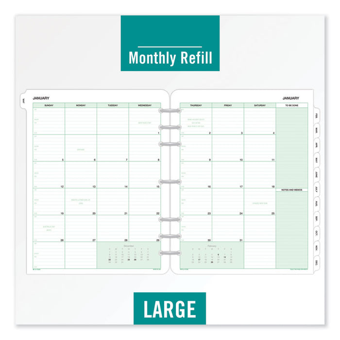 Monthly Classic Refill, 11 x 8 1/2, White/Green, 2020