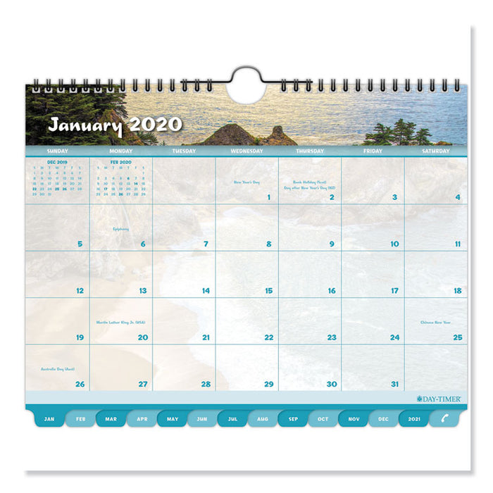 Coastlines Tabbed 12-Month Wirebound Wall Calendar, 11 x 8 1/2, 2019