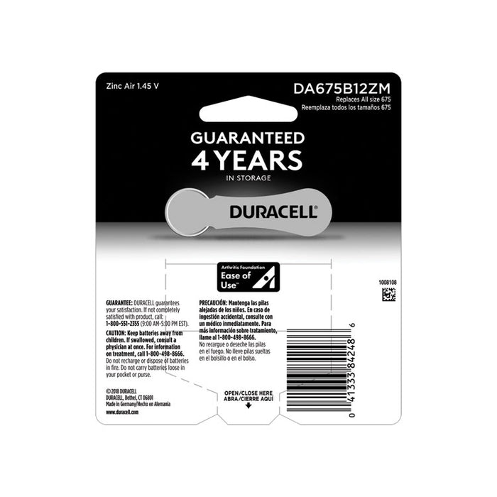 Hearing Aid Battery, #675, 12/Pack