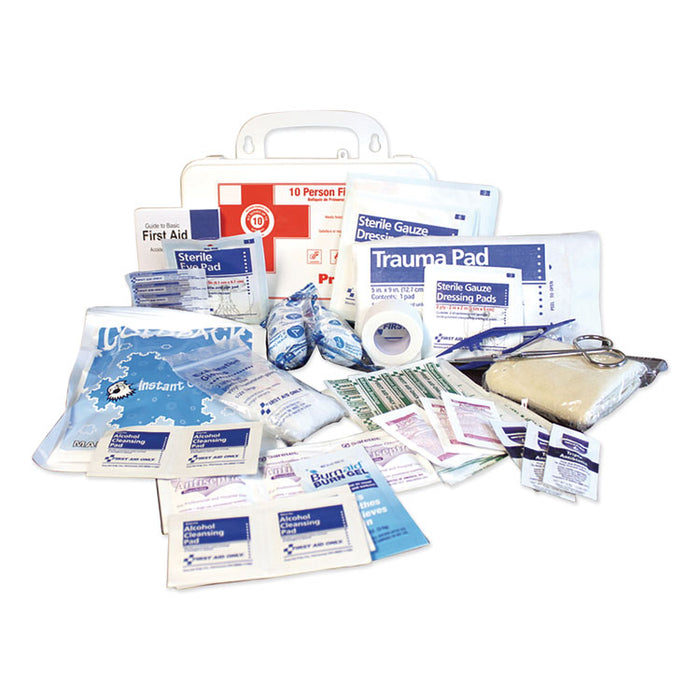 10-Person First Aid Kit, 62 Pieces, 8.5 x 5.5 x 3.25, Plastic Case
