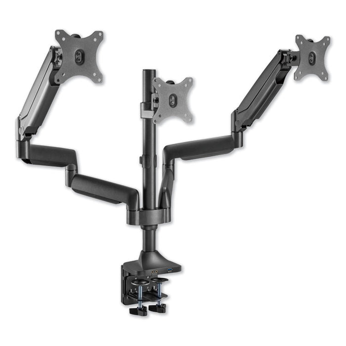 "AdaptivErgo Heavy-Duty Articulating Triple Monitor Arm with USB, 32"", Black"