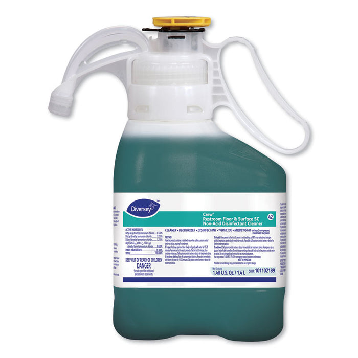 Crew Restroom Floor and Surface SC Non-Acid Disinfectant Cleaner, Fresh, 1.4 L Bottle, 2/Carton