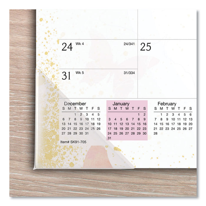 Watercolors Recycled Monthly Desk Pad Calendar, 17.75 x 10.88, 2020