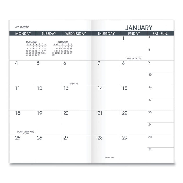 Pocket Size Monthly Planner Refill, 6 1/8 x 3 1/2, White, 2020-2021