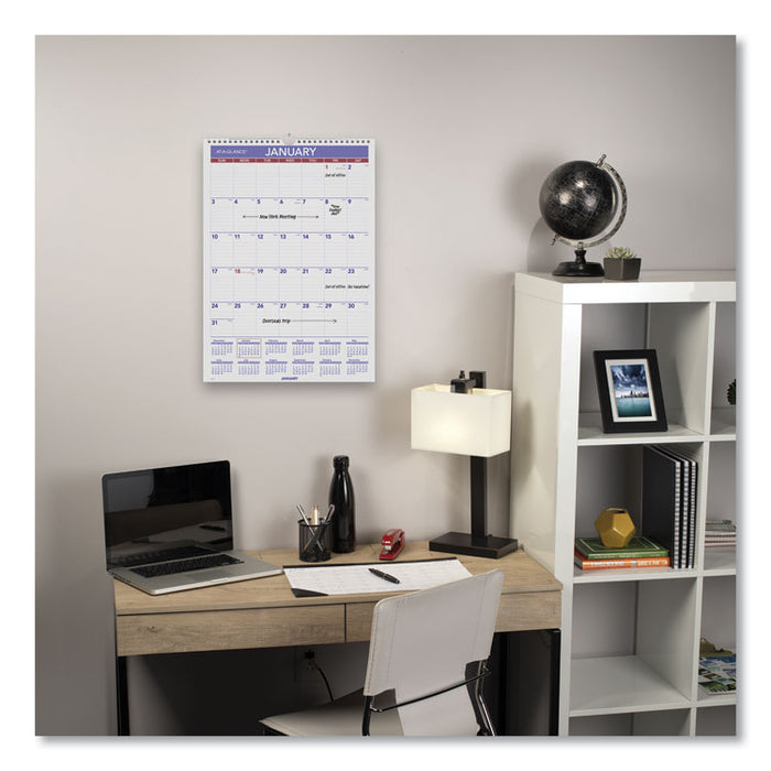 Monthly Wall Calendar with Ruled Daily Blocks, 12 x 17, White, 2020