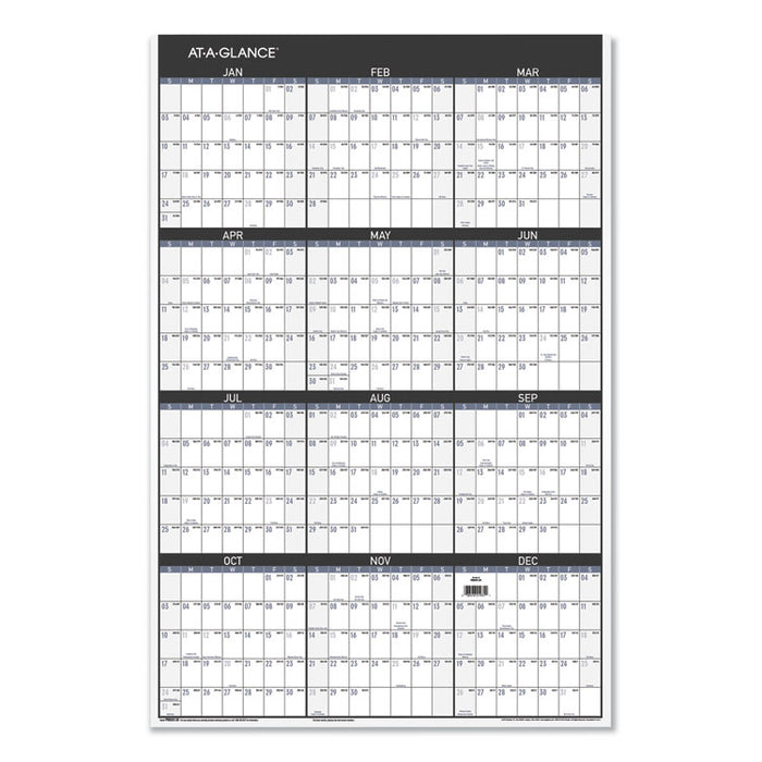 Contemporary Two-Sided Yearly Erasable Wall Planner, 24 x 36, 2020