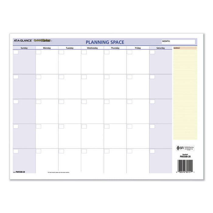 QuickNotes Mini Erasable Wall Planner, 16 x 12, 2020