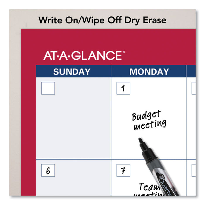 Horizontal Erasable Wall Planner, 36 x 24, White/Red, 2020