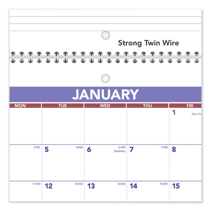 Wirebound Monthly Desk/Wall Calendar, 11 x 8 1/2, 2020