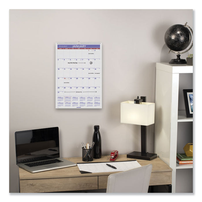 Erasable Wall Calendar, 12 x 17, White, 2020
