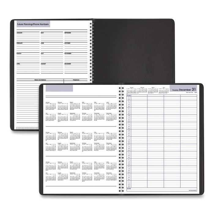 Four-Person Group Daily Appointment Book, 11 x 7 7/8, Black, 2020