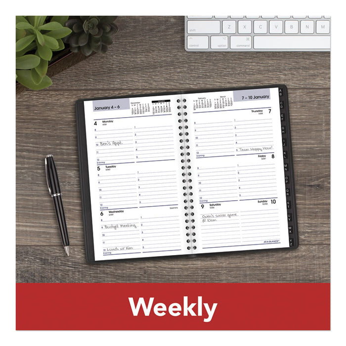 Block Format Weekly Appointment Book w/Contacts Section, 8 x 4 7/8, Black, 2020