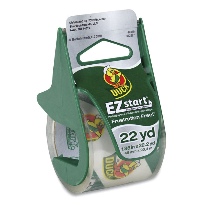 "EZ Start Premium Packaging Tape with Dispenser, 1.5"" Core, 1.88"" x 22.2 yds, Clear"
