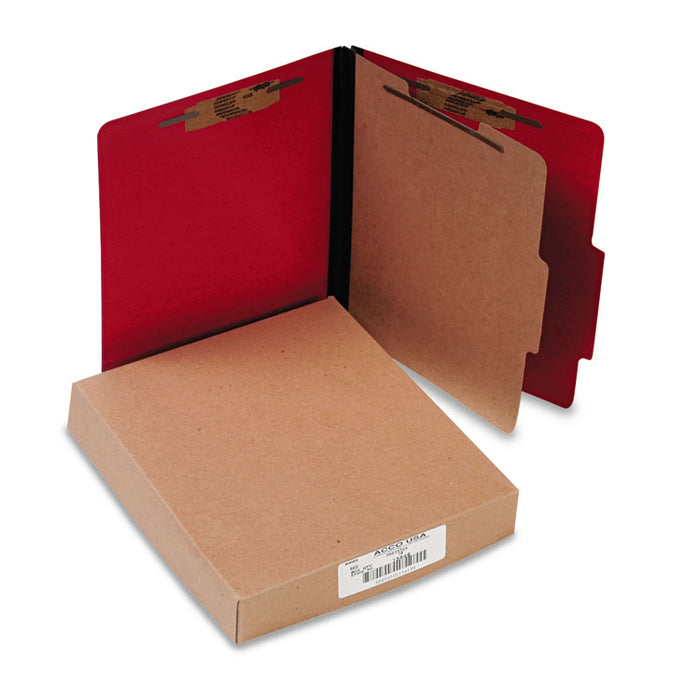 ColorLife PRESSTEX Classification Folders, 1 Divider, Letter Size, Executive Red, 10/Box