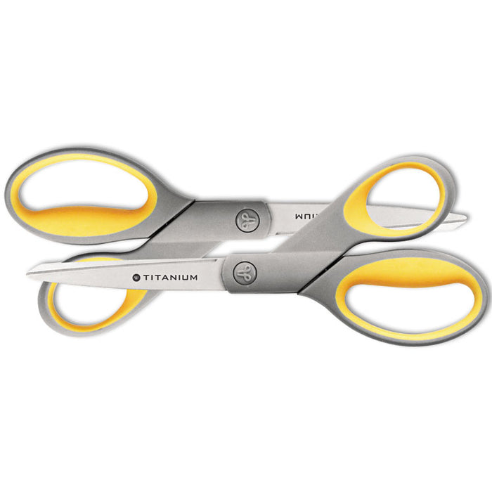 "Titanium Bonded Scissors, 8"" Long, 3.5"" Cut Length, Gray/Yellow Straight Handles, 2/Pack"