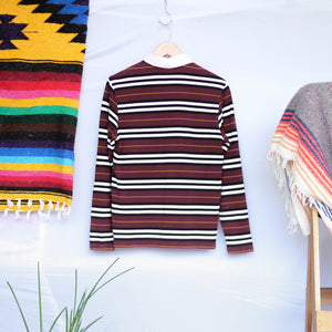 UNDER THE SUN | BURBERRY MAROON STRIPE LONGSLEEVES POLO