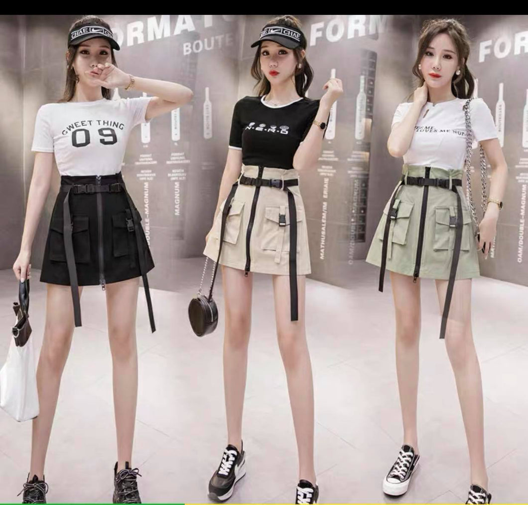 CHEERS FASHION | CARGO SKIRT WITH BELT