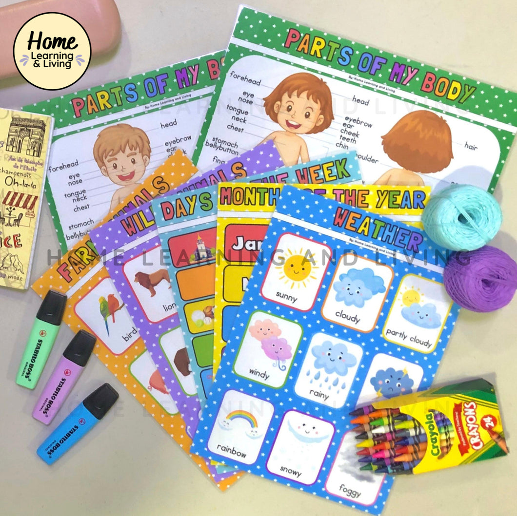 HOME LEARNING AND LIVING | EDUCATIONAL CHART SET 2