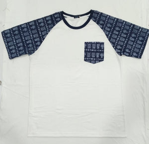 IKON | PRINTED SLV POCKET WHITE BLUE MENS SHIRT