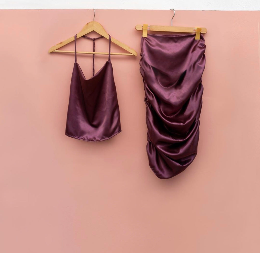 AGGY PH | SATIN SKIRT WINE