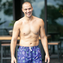 Load image into Gallery viewer, ILOVEKOISWIM | BOARD SHORTS FOR MEN - NAVY STRIPES