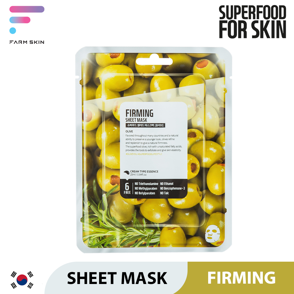FARMSKIN | SUPERFOOD SALAD FACIAL SHEET MASK (FIRMING OLIVE) CREAM TYPE ESSENCE