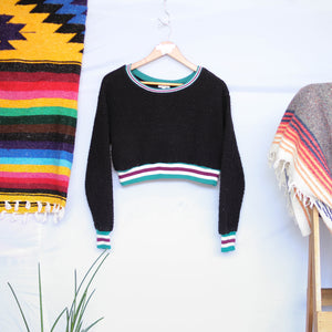 UNDER THE SUN | WARM & COZY BLACK BOUCLÉ CROPPED SWEATER