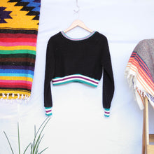 Load image into Gallery viewer, UNDER THE SUN | WARM & COZY BLACK BOUCLÉ CROPPED SWEATER