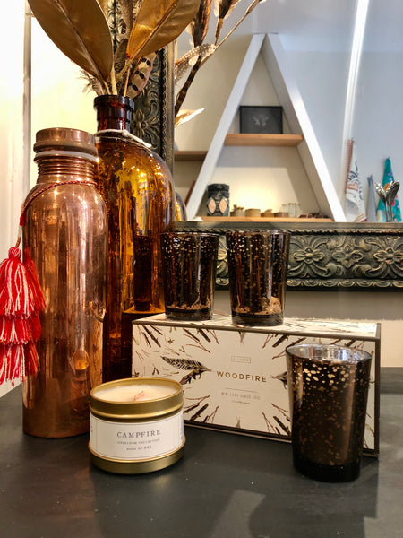 Copper Bottle Woodfire Candles