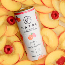 Load image into Gallery viewer, What is hard seltzer? Try our Peach & Raspberry alcoholic sparkling water